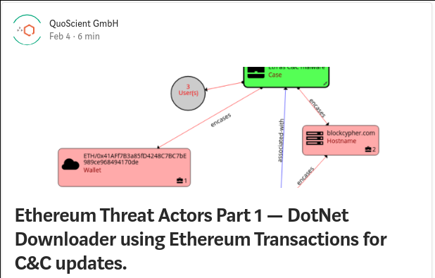 Ethereum threat actor botnet transaction tracking patrick ventuzelo QuoScient C&C updates blockchain blogpost dotnet ilspy etherscan bigquery