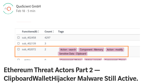 Ethereum clipboard hijacker malware patrick ventuzelo blogpost quoscient analysis qihoo360 Bitcoin