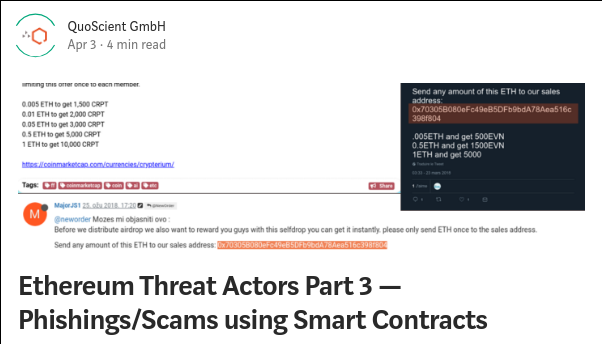 Ethereum smart contract  malware  threat actor phishing patrick ventuzelo blogpost quoscient analysis scams